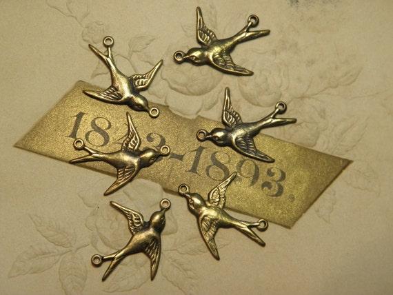 Vintage Swallow Metal Stamping Findings