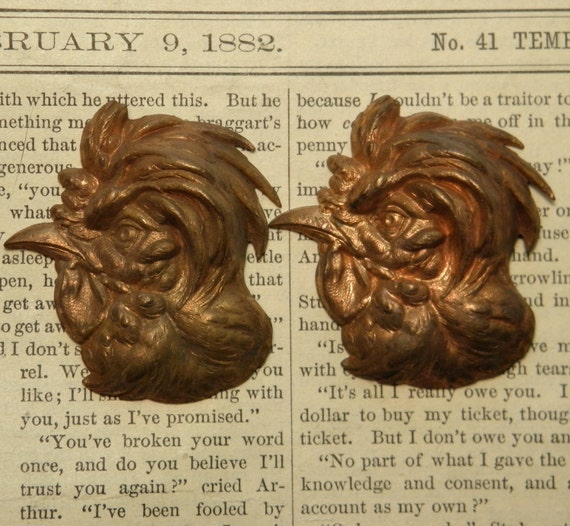 Vintage Brass Stampings Rooster Heads