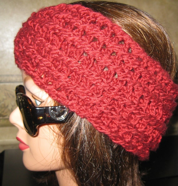 Handmade Crochet Cable Reversible Headband headwrap hair accessory Burgundy red FREE SHIPPING
