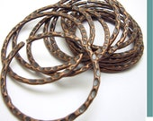 Lot of 6 large textured Copper and black color open Rings  id1070186