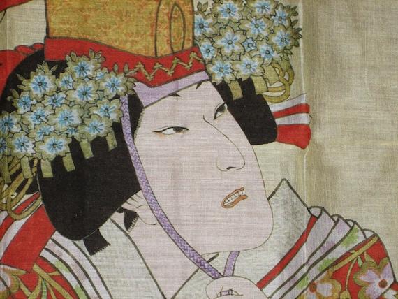 Stunning KABUKI Scarf Mask Face Linen - Oriential - Japan