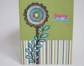 "Birthday card with paper Flower Handmade 6""x 8"""