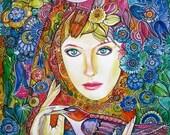Flower Fairy / Bird Art / Fairytale / Wall Art / Room decor / Colorful Art