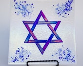 Iridescent Blue and White Fused Glass Star of David Plate 12 x 12