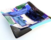 Blue, Pink, Purple and Green Fused Glass Square Platter