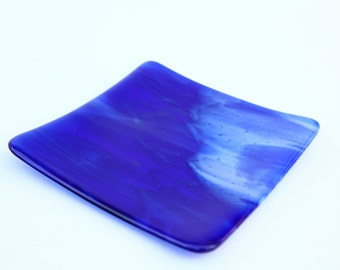 Blue and White Streaky Fused Glass Dish