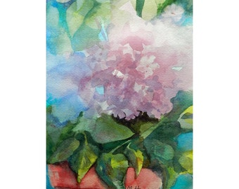 Pink Hydrangea Art, Watercolor Original Painting, Floral Painting Pink Shabby Chic, Still Life, Fine Art Summer Flowers, Floral Wall Art