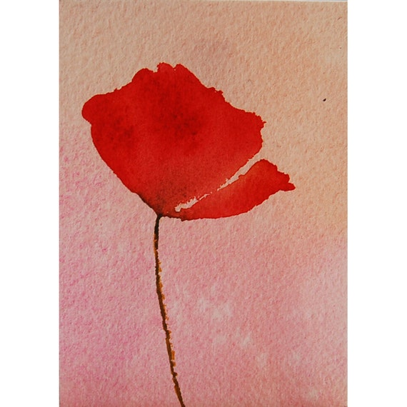 Red Poppy ACEO 2 1/2 x 3 1/2 inches / Poppy Solo / Original Poppy Painting /watercolor