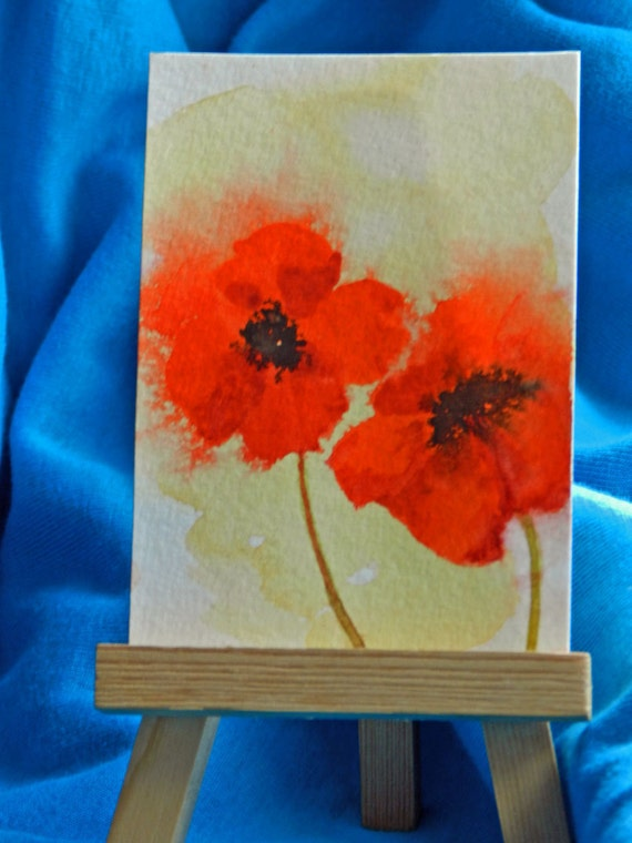 Red Poppy Art, ACEO, 3 1/2 x 2 1/2 inches, original watercolor painting, poppy paintings, Heat of the Moment, dollhouse art