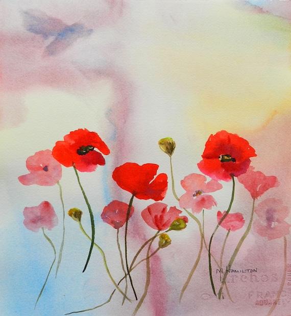 "Impressionistic Poppy Flower Art, Wall Art, Poppy Painting, Original Watercolor Painting, Home Decor, 12"" x 11"", Red Poppies, Poppy Joy"