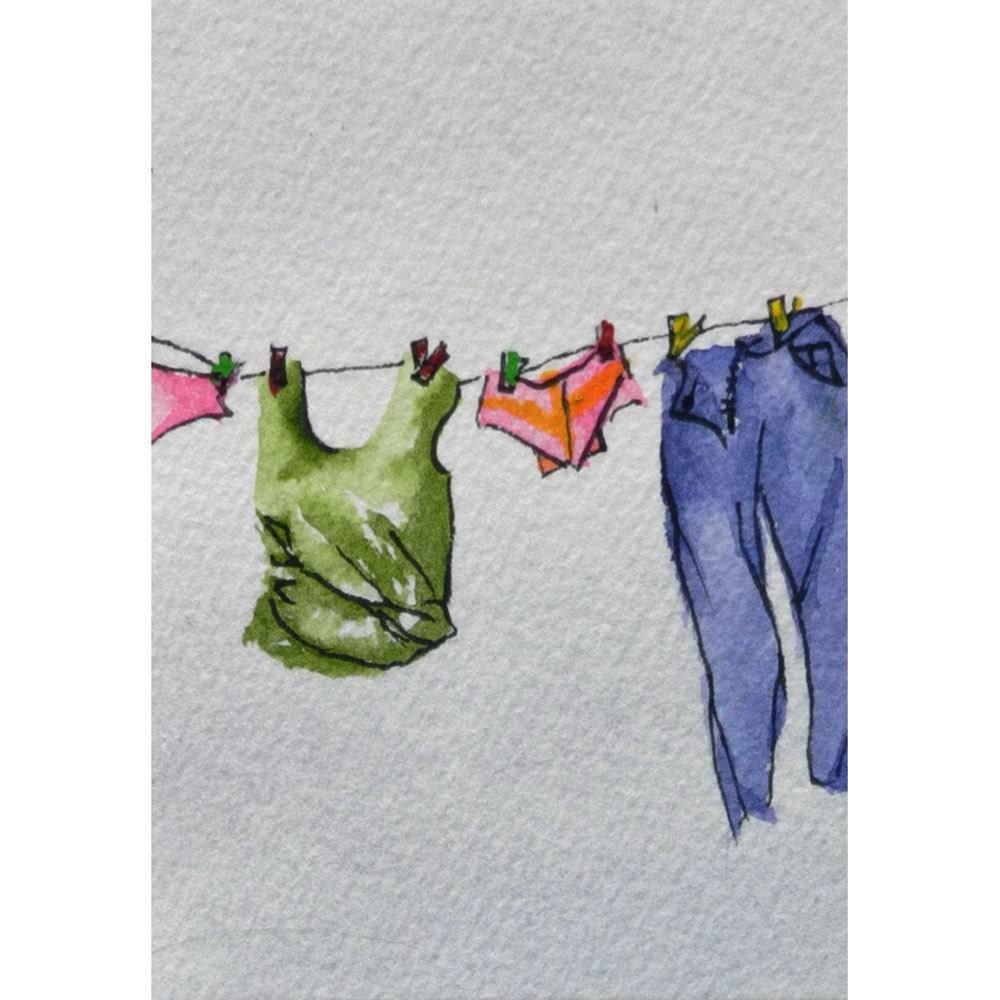 aceo original clothesline art everyday wash clothes. Black Bedroom Furniture Sets. Home Design Ideas