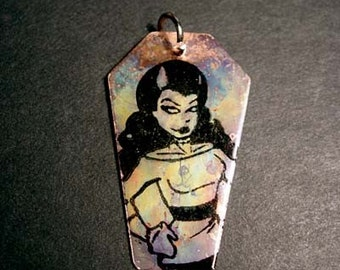 CLEARANCE - Copper Coffin - Cold Ethyl - A zombie pinup girl