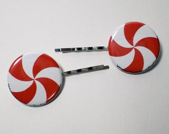 Hair Clips - Red Peppermints