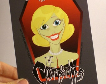 The Corpsettes - Doris Dead Post Card - A rockabilly zombie pinup chick