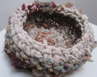 crocheted basket, multi-color upcycled fiber, medium size