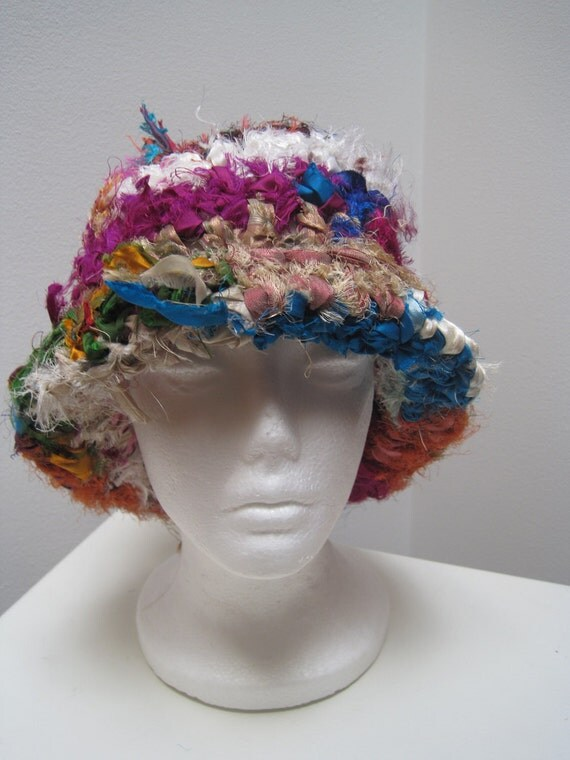 "multi color hat, brimmed, crocheted from sari scraps ""plush"""