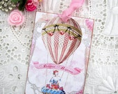Marie Antoinette Hot Air Balloon Gift Tags Shabby Romantic