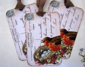 Shabby French Bird Nest Postcard Tags