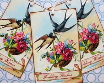 Victorian Bird Wedding Wishes Gift Tags