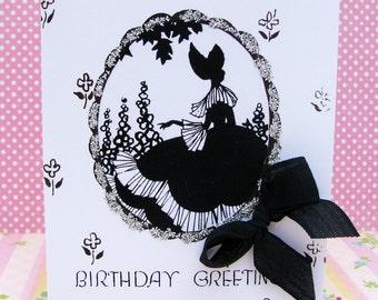 Vintage Victorian Silhouette Birthday Card