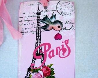 Eiffel Tower Bird Tags Sweet  Shabby French