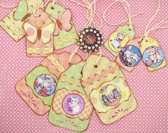 Kitten  Gift Tag Assortment Sweet Vintage