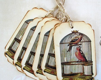 Shabby Bird Cage Gift Tags