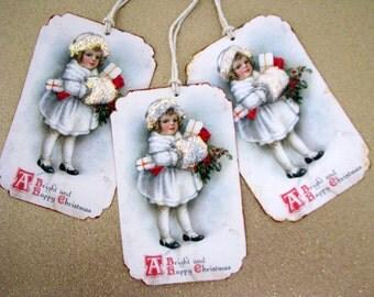 Victorian Girl Christmas Gift Tags
