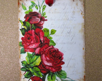 Red Rose Gift Tags Paris Style