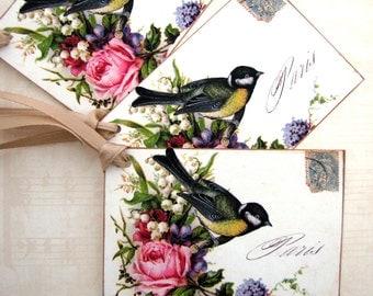 Paris Postcard Bird Gift Tags