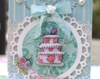 Handmade Wedding Card Shabby Chic