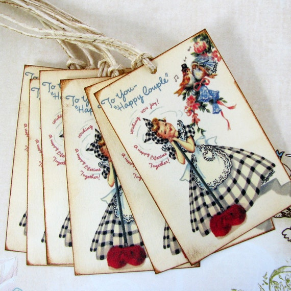 Vintage Wedding Wishes Gift Tags