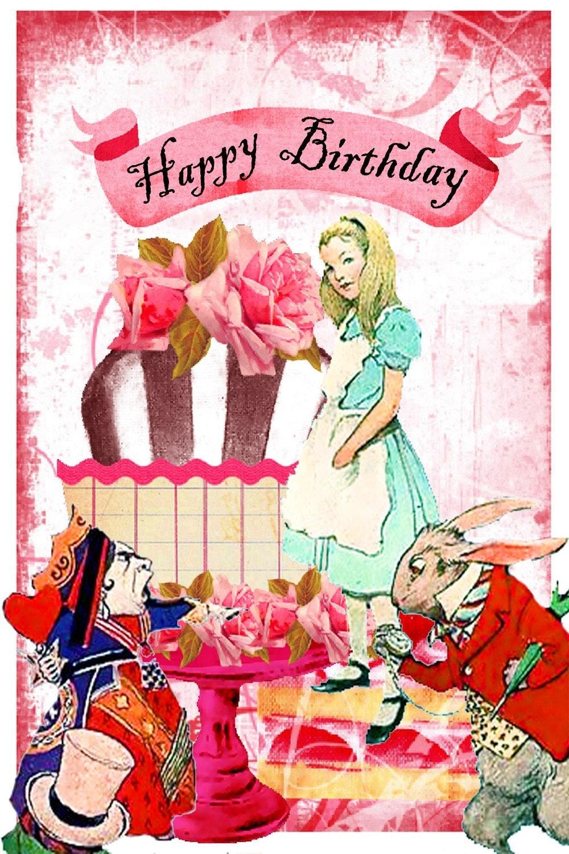 alice in wonderland birthday card