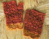 Bonfire Hand Dyed Wool Lace Mitts