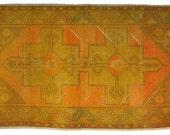 Gold Double Medallion Overdyed Vintage Carpet
