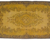 Shades of Gold Overdyed Vintage Carpet