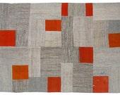 Orange Vintage Patchwork Kilim Rug