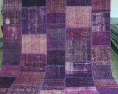 Aubergine Revitalized Vintage Patchwork Carpet
