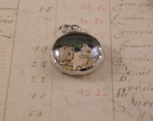 SALE - Glass Bubble Kitten Charm with Vintage Illustration - Cat Cell Phone Charm - Soldered Glass Charm