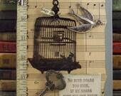 Bird Cage William Blake Mixed Media Collage Art