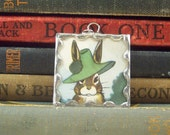 Soldered Glass Pendant Bunny Rabbit in Green Hat with Vintage Illustration