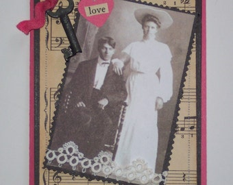 Anniversary Card - Victorian Style Anniversary Card - Wedding Card - Key to My Heart with Vintage Couple - Collage Art Card