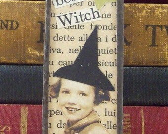 Best Little Witch Pendant - Halloween Necklace - Mixed Media Collage Art - Halloween Charm - Soldered Pendant - Prim Primitive Witch Charm