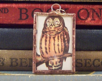SALE - Copper Owl Pendant - Soldered Glass Charm with Vintage Book Illustration - Glass Owl Charm - Book Charm