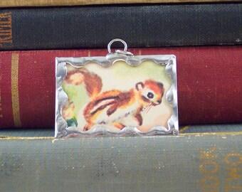 Chipmunk Charm - Soldered Glass Pendant with Vintage Illustration - Woodland Ground Squirrel Pendant - Chipmunk Necklace Pendant
