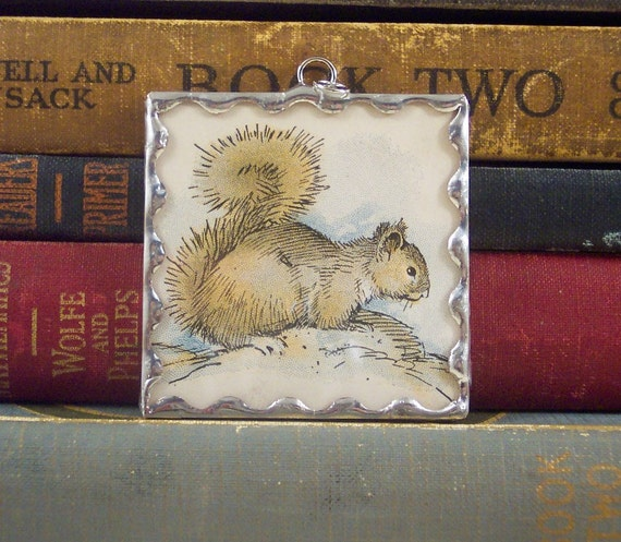 SALE Large Soldered Pendant or Ornament Oh Nuts Squirrel with Vintage Illustration