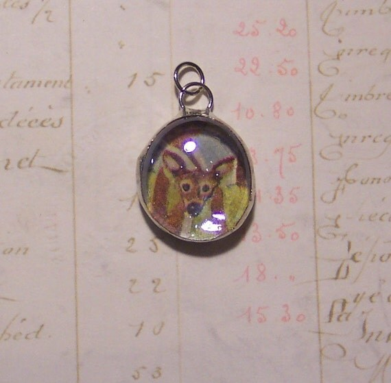 Deer Bubble Charm - Woodland Jewelry - Cell Phone Charm - Soldered Pendant - Deer Pendant - Deer Phone Charm - Deer Charm