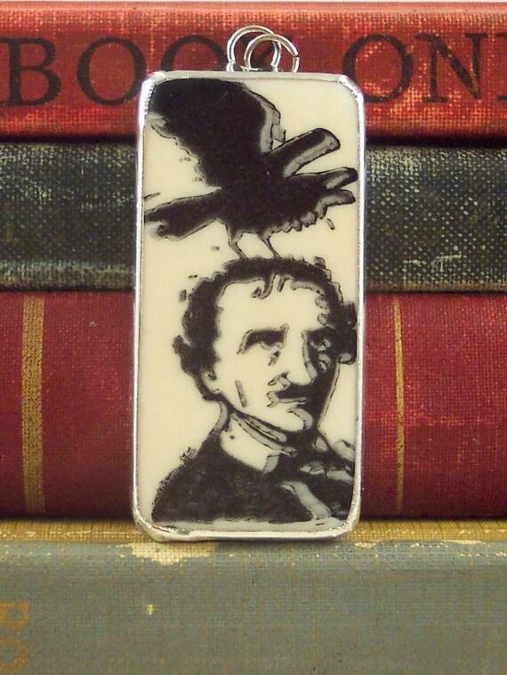 Soldered Domino Charm Edgar Allan Poe with Raven
