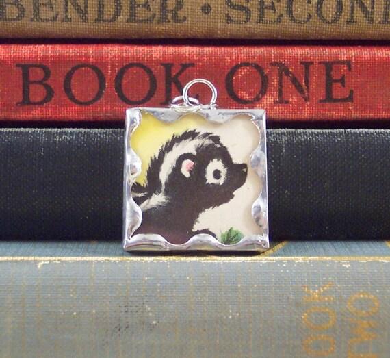 Soldered Glass Charm Pendant Cute Skunk with Vintage Illustration