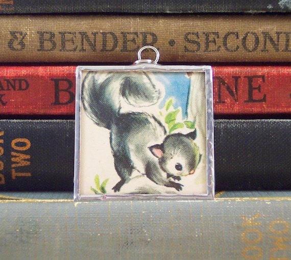 Gray Squirrel Pendant - Soldered Glass Charm with Vintage Illustration